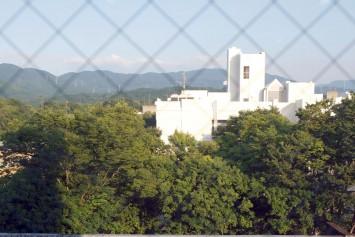 教室から見える景色。都会から離れ、緑に囲まれていることがよく分かる
