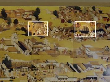 四天王寺付近の鳥居(白枠・左部分)。本来の地理から考えるともっと右側(南側)にある。右は住吉社の反橋(白枠・右部分)