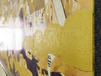 美術陶板で作られたレプリカの『豊臣期大坂図屏風』の金雲部分