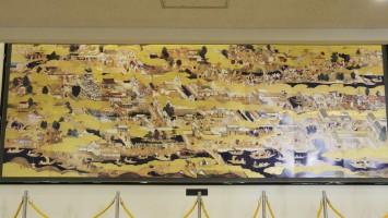 『豊臣期大坂図屏風』復元陶板の全景