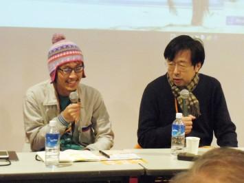金水先生(右)・伊藤先生(左)はマンガ学会ができた時、藤本さんが理事として参加されたことがきっかけ。金水先生は以前ベルサイユのばらのイベントなどそれまでにも顔を合わせたことはあったんだそう