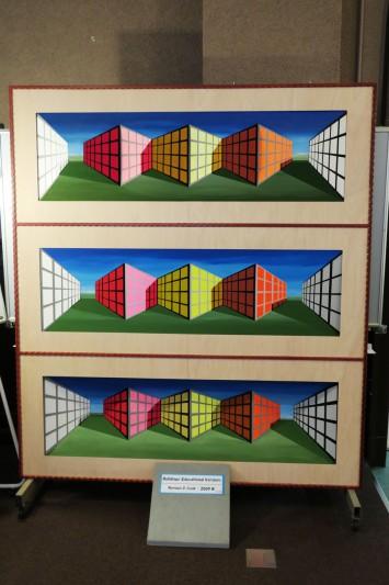 一番下は平面に絵を描いたもの、真ん中は絵から受ける凹凸と同じ凹凸を施したもの。一番上が3Dイリュージョンに使用されているもので、絵の奥行きとは逆の凹凸が施されている