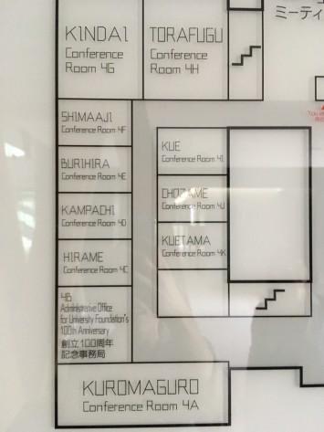 クロマグロの部屋が一番広く、入口にはこんなサインが