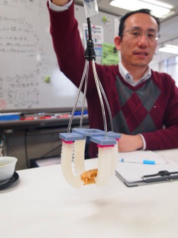 唐揚げの模型もホールド。唐揚げ模型は、食品サンプルより実物に近い柔らかさや変形具合を実現した特注品