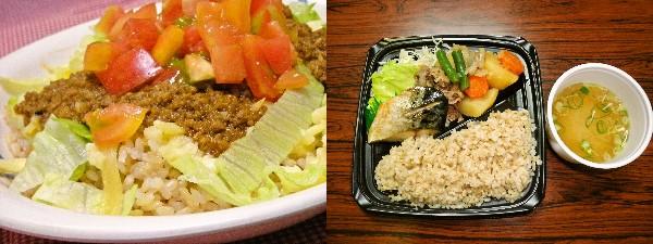 学食はいくつもあり、それぞれ日替わりでメニューが異なる。玄米タコライス(左)、玄米定食(右)※メニューは一例