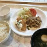 メインはサーモンフライと豚の生姜焼き!