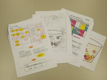 学生による提案資料やミーティング資料。細かく検討事項が書き込まれていた