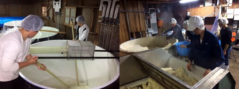 丹山酒造での仕込み作業の様子。麹を作り、大きなタンクに入れてかき混ぜる
