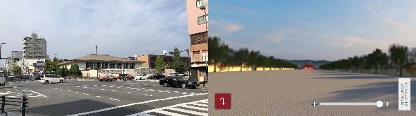 (左)現在の千本通、(右)当時の朱雀大路