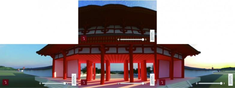目の前の羅城門が、画面上ではほぼ実物大で浮かびあがりました