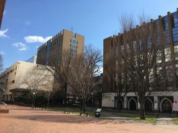 「目白倶楽部」のある建物は、目白駅から徒歩10分程度の中央教育研究棟(写真奥)。周りビルより頭一つ背の高いビルです。