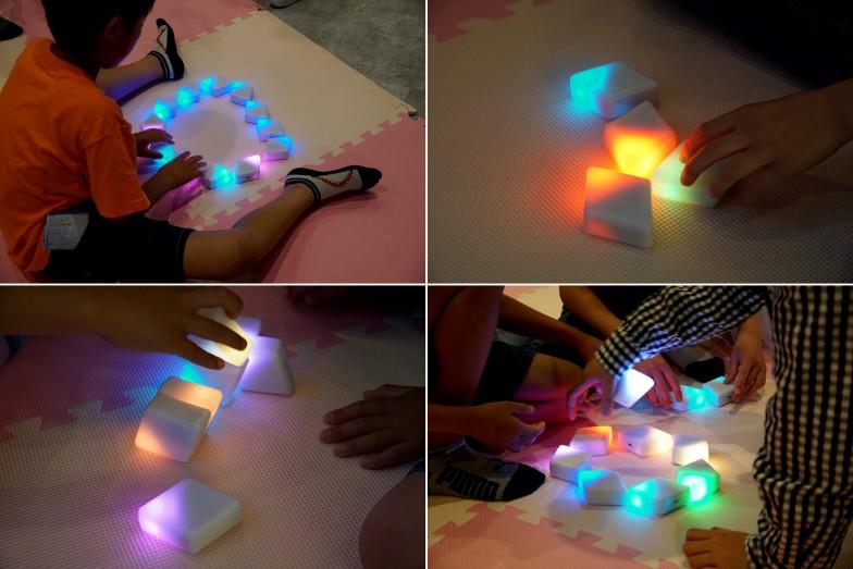 遊び方によって色や動きが変わるブロックにみんな夢中に!