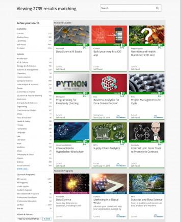 講座の検索画面。受講可能な講座数は膨大