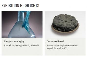 写真右が、火山噴火とともに炭になってしまったパンだそうです。
