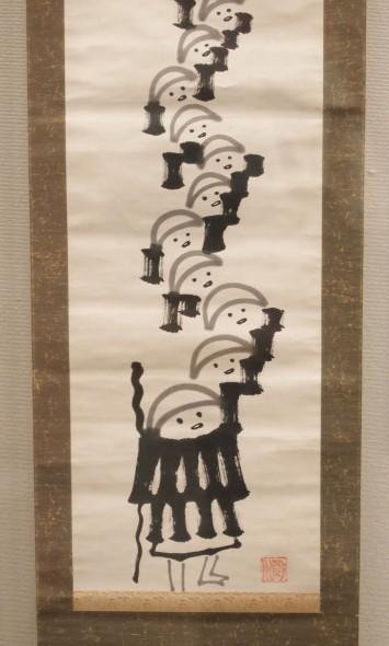 雲水托鉢図(南天棒筆)。なんともいえないこの表情…。描いたのは明治から大正時代にかけて活動した臨済宗の僧侶