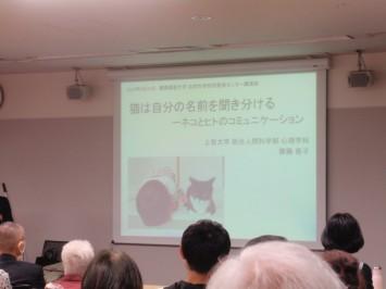 講演会冒頭には、齋藤先生のお子さんと飼い猫がスライドに。ネコは、ヒトの子どもに対しては、絶対に手を出さない寛容さがある、といったエピソードも紹介