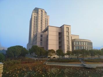 大きな図書館がそびえる江南大学