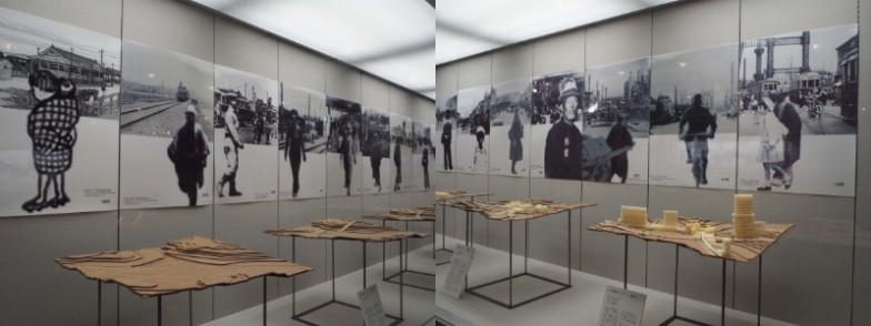 """渋谷が""""谷""""とわかる模型。1938年の模型には1951〜53年に敷かれていたケーブルカーが再現されています。"""
