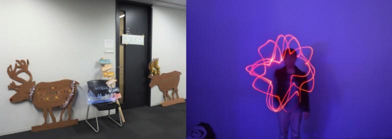 早稲田イルミネーションプロジェクトという団体の展示。入ってみたらピカピカ写真を体験するというものでした。光の残像で文字や絵を描いた写真データを購入(100円)できるので、小学生女子に大ウケでした