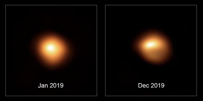 超大型望遠鏡がとらえた2019年1月と12月のベテルギウス credit:ESO/M.  Montargès et al.