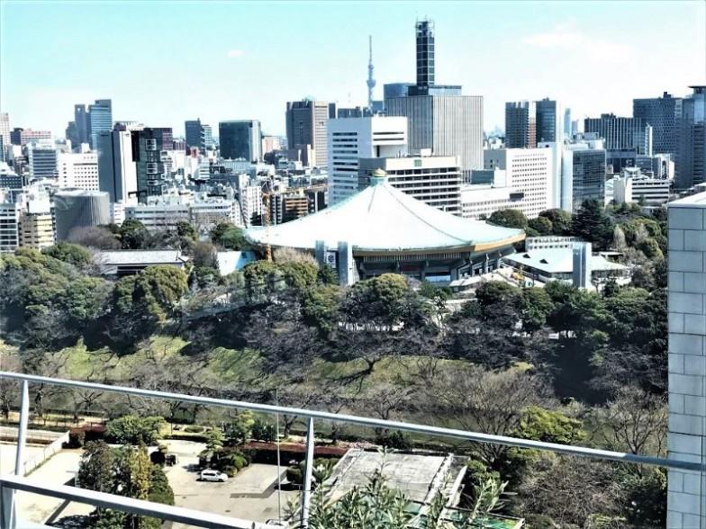 窓際の席からは日本武道館が見えた