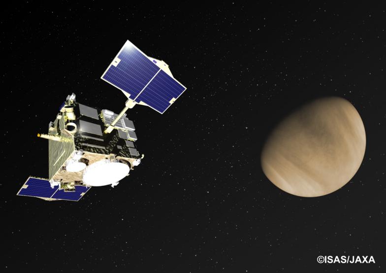 金星へ向かう「あかつき」の想像図。2010年に試みられた軌道投入が失敗したものの、2015年に姿勢制御エンジンの噴射により再投入に成功。2016年から観測を開始したという、ドラマティックなエピソードの持ち主だ
