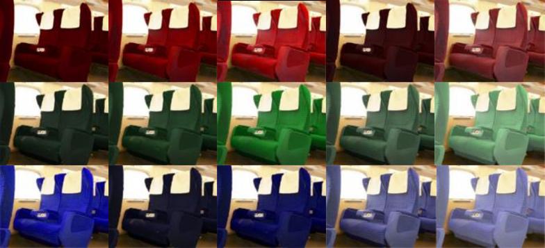 まずディスプレイ上で色の違いによる印象評価を調べる(画像:山口さんの博士論文より。JR東海新幹線N700系(http://n700.jp)の画像を元に作成)