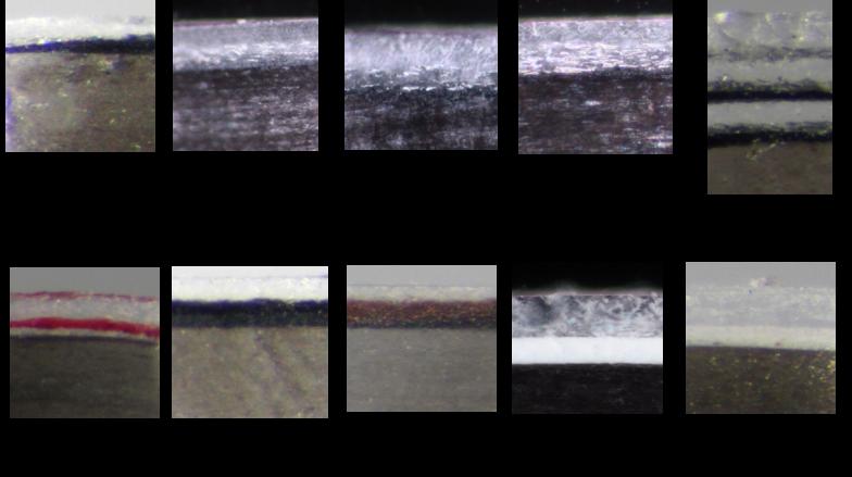 こちらは自動車のバンパー塗膜の断面。バンパー塗膜は車両ボディー上の塗膜より層厚が薄く(数µmのものもあるほど)、鑑定が難しいサンプル