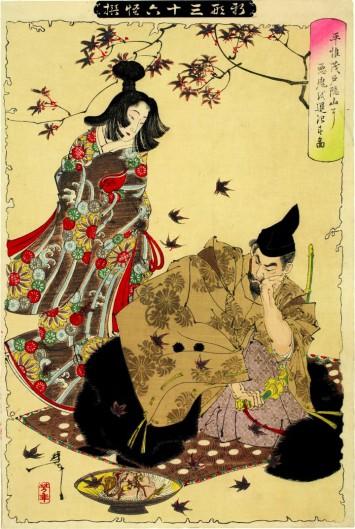 月岡芳年が描いた鬼女紅葉。平維茂に近づく美しい女性だが、盃に映った顔は……?(所蔵:国際日本文化研究センター)