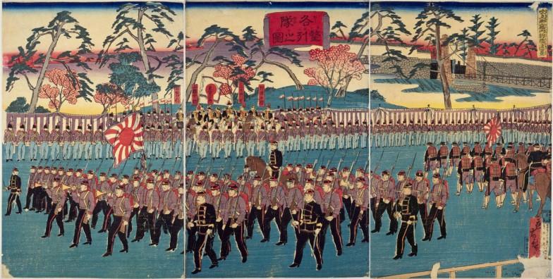 観兵式を描いた錦絵「各隊整列之図」(1877年、国会図書館蔵)