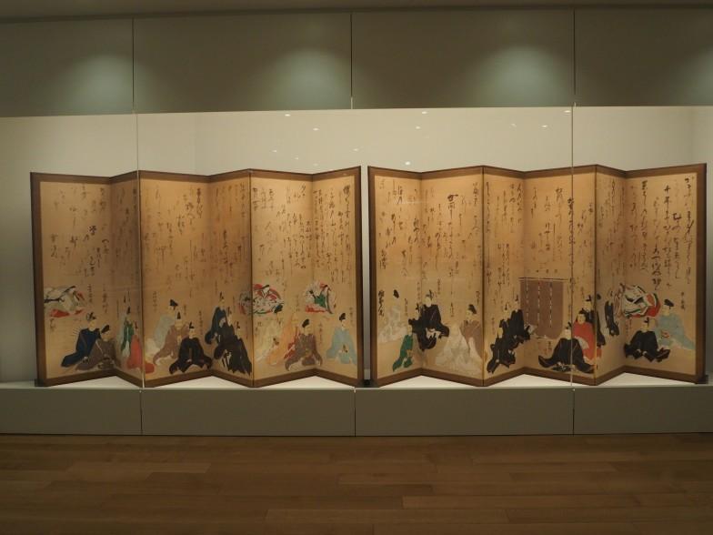 「文字景」で展示されている江戸時代初期の「三十六歌仙図屏風」。まさに大迫力!