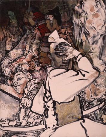 山口晃《洞穴の頼朝》1990 カンヴァスに油彩 116.7×91cm 撮影:長塚秀人 ©︎YAMAGUCHI Akira, Courtesy of Mizuma Art Gallery