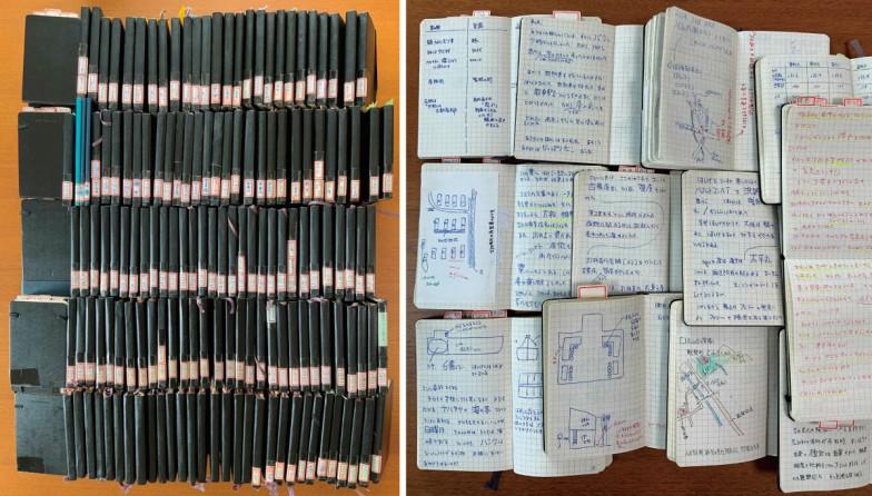 島村先生の研究ノート。現在はモレスキンのものを使っているとか。各ページには、見聞きしたことが図解も交えてびっしりと記録されている。